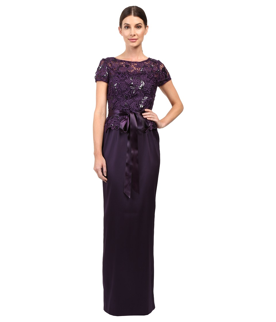 Adrianna Papell - Sequin Lace Top with Column Gown (Aubergine) Women's Clothing