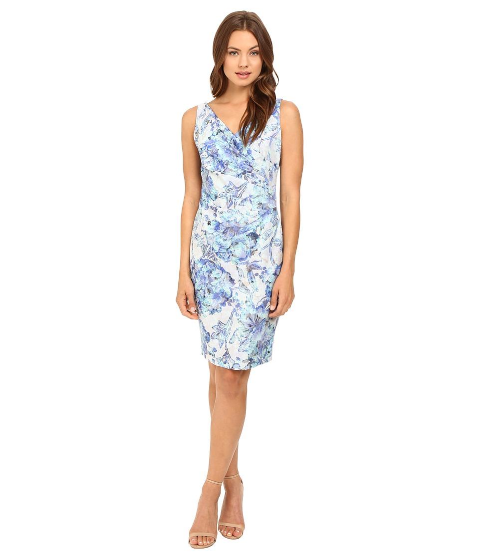 Adrianna Papell - Sleeveless Pleat Wrap Sheath (Blue Multi) Women's Sleeveless