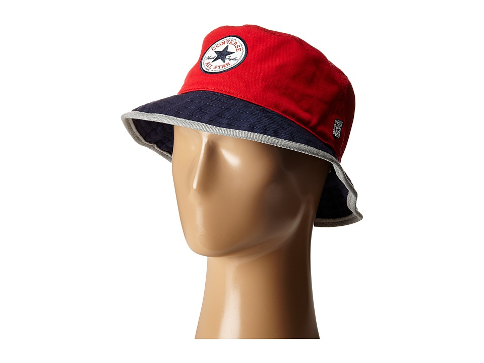 Converse - Core Blocked Bucket Hat (Red/Navy/Heather Grey) Bucket Caps
