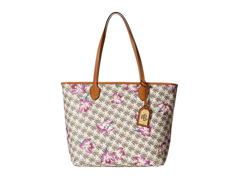 LAUREN Ralph Lauren - Dobson Ashley Tote (Natural/Bright Orchid) Tote Handbags