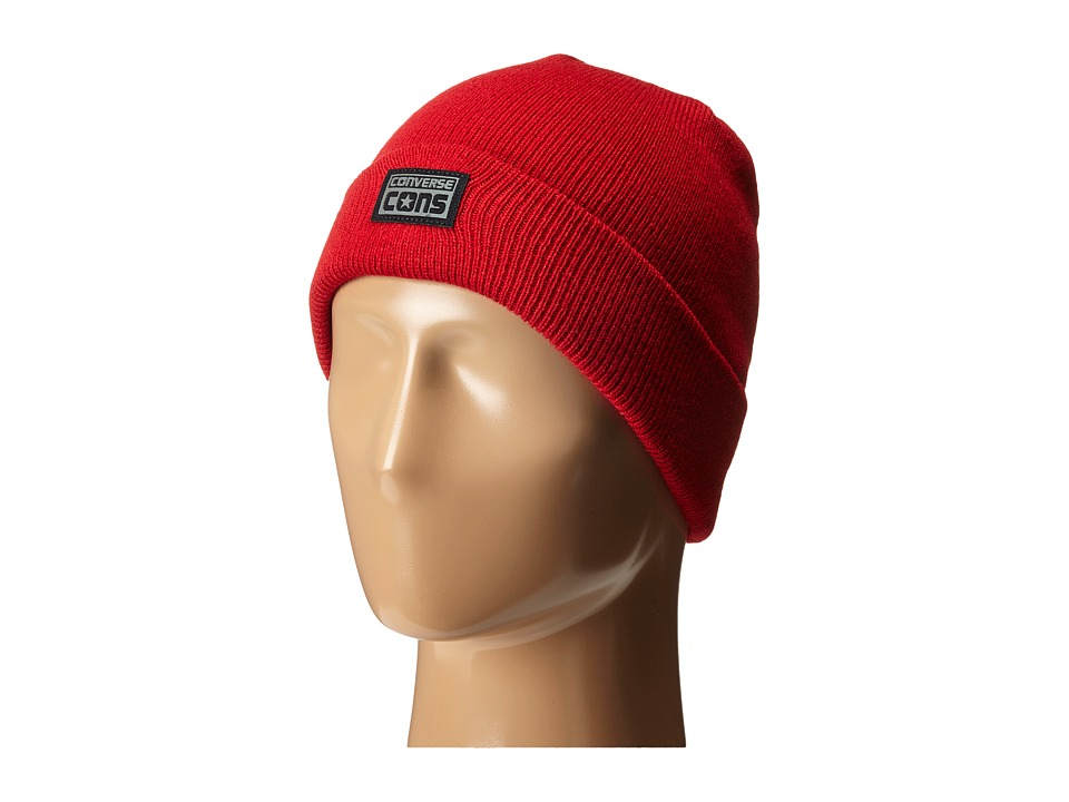 Converse - Cons Flat Knit Watchcap (Converse Red) Caps