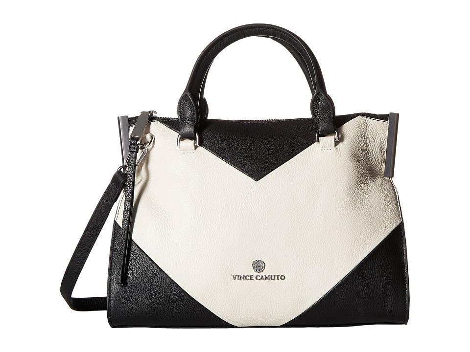 Vince Camuto - Tina Small Satchel (Black/Snow White) Satchel Handbags