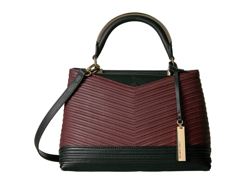 Vince Camuto - Blu Satchel (Black/Black Cherry) Satchel Handbags