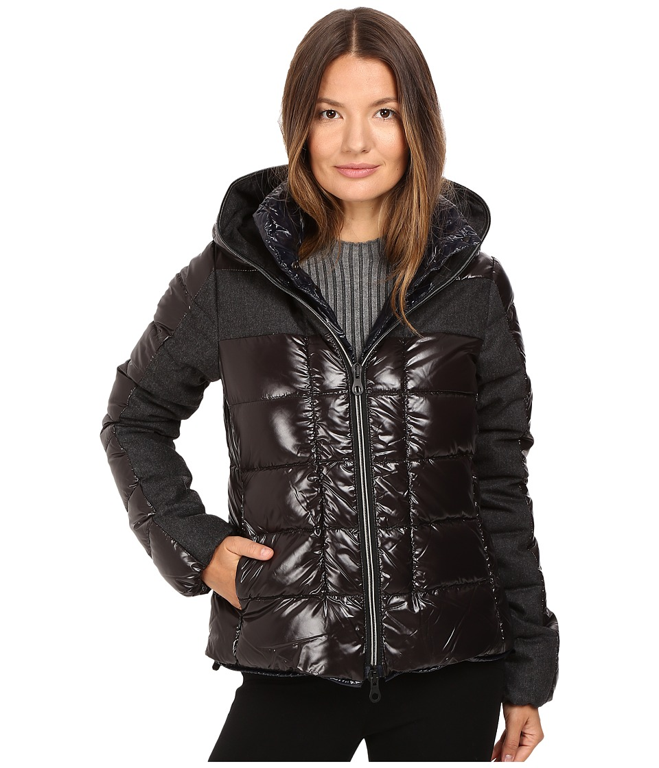 DUVETICA - Angusina Inset Quilted Down Hooded Jacket (Nero) Women's Coat