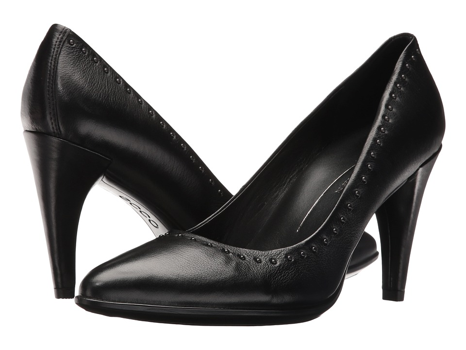 ECCO - Shape 75 Rivet Pump (Black Calf Leather) High Heels