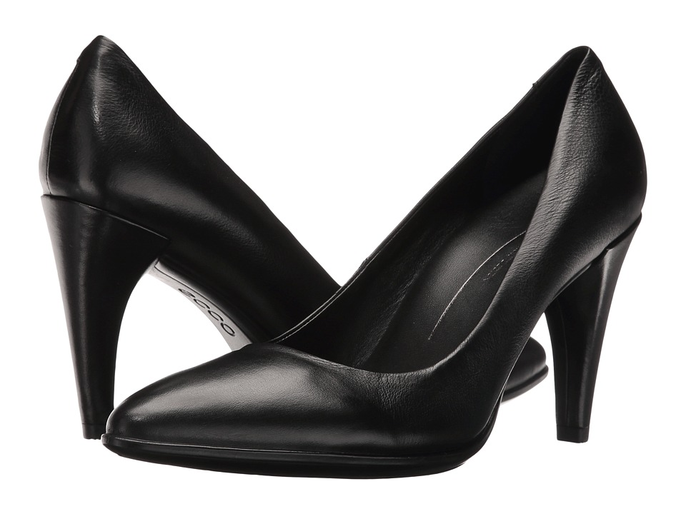 ECCO - Shape 75 Pointy Pump (Black Calf Leather) High Heels