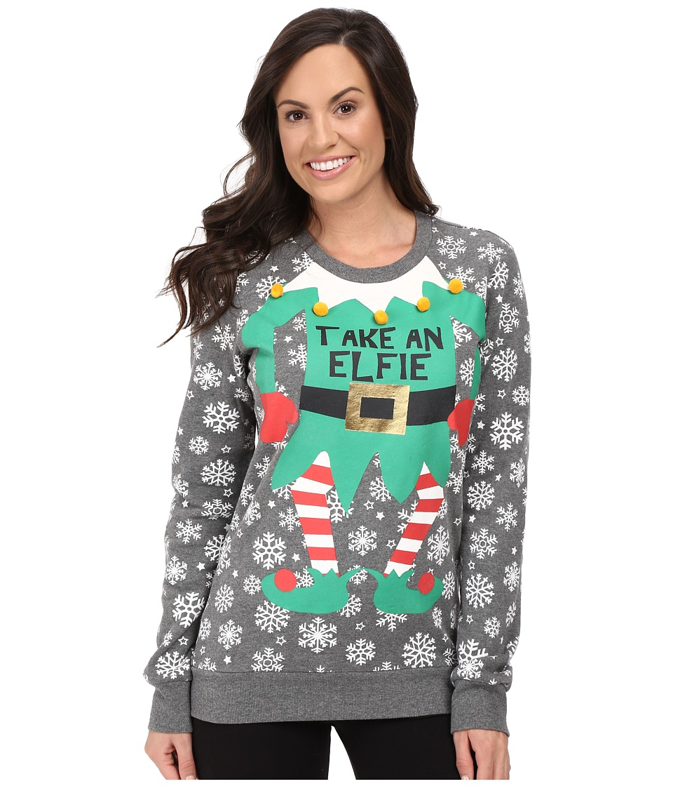 P.J. Salvage - Take an Elfie Holiday Sweatshirt (Heather Grey) Women's Pajama