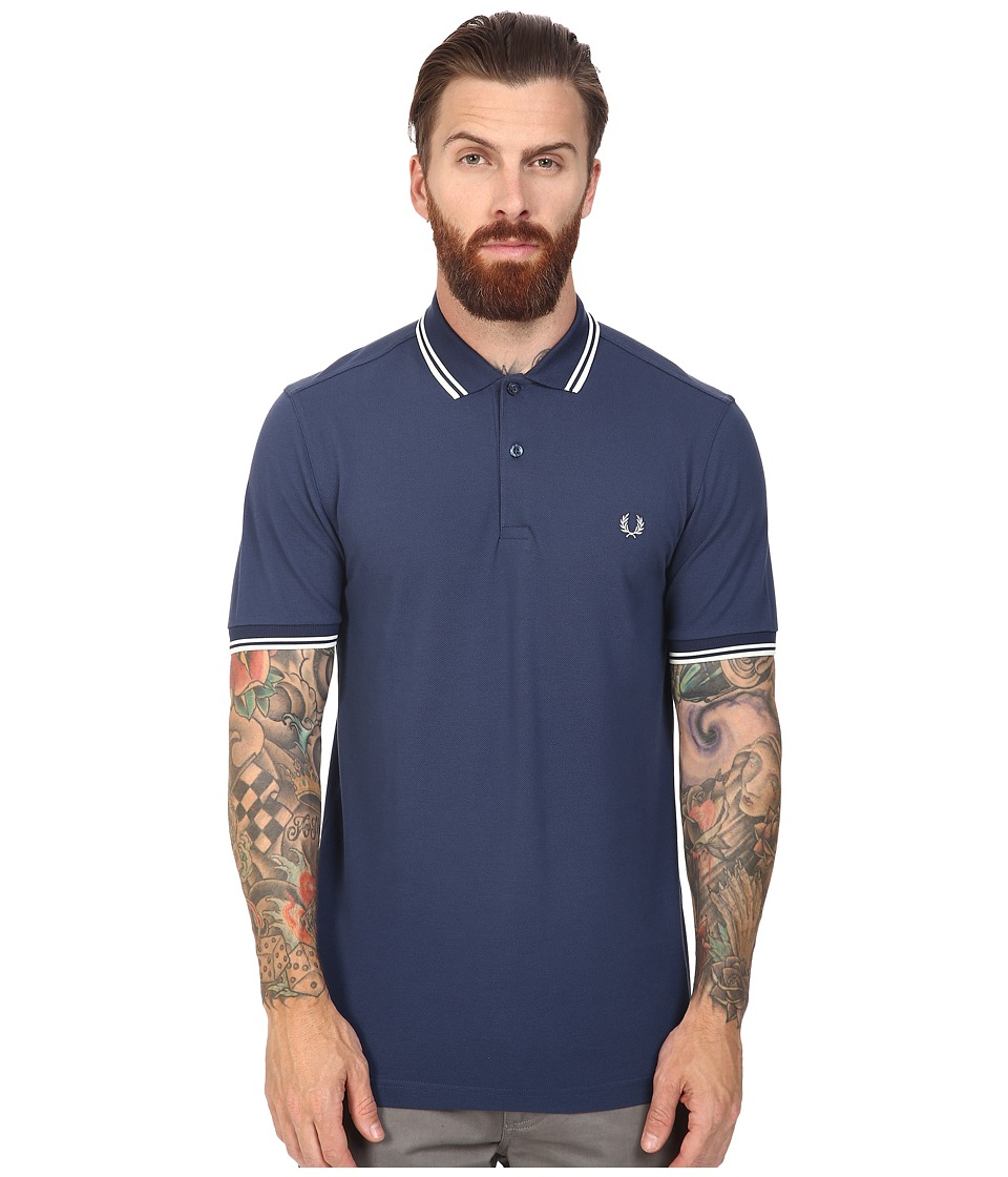 Fred Perry - Slim Fit Twin Tipped Fred Perry Polo (Service Blue/Snow White) Men's Short Sleeve Knit