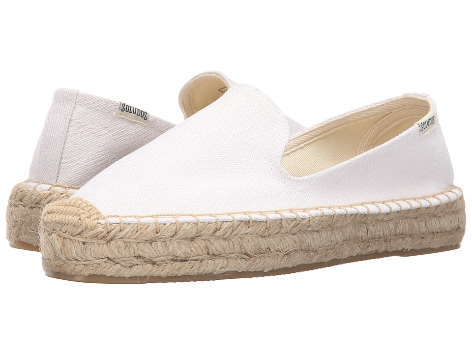 Soludos - Platform Smoking Slipper (White Cotton Canvas) Women's Slippers
