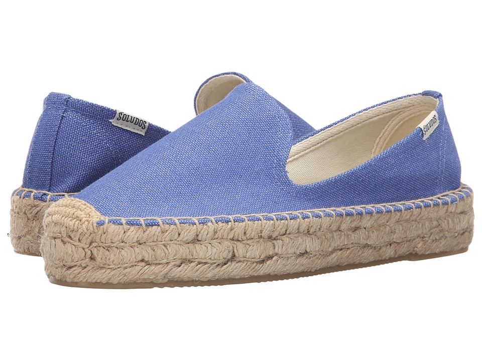 Soludos - Platform Smoking Slipper (Marina Blue Cotton Canvas) Women's Slippers