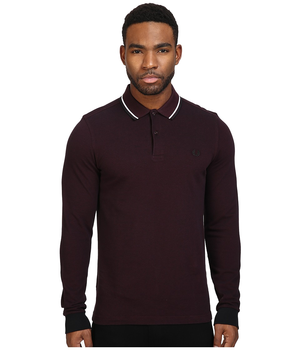 Fred Perry - Long Sleeve Twin Tipped Shirt (Mahogany Black Oxford/White/Black) Men's Clothing