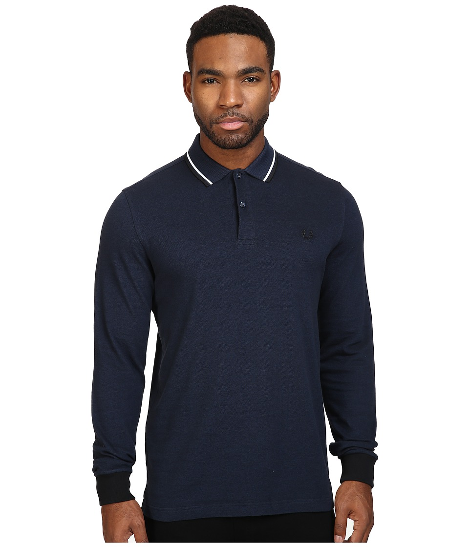 Fred Perry - Long Sleeve Twin Tipped Shirt (Service Blue/Black Oxford/White/Black) Men's Clothing