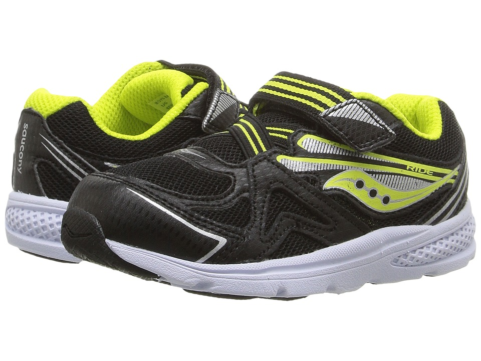 Saucony Kids - Ride (Toddler/Little Kid) (Black/Lime) Boys Shoes