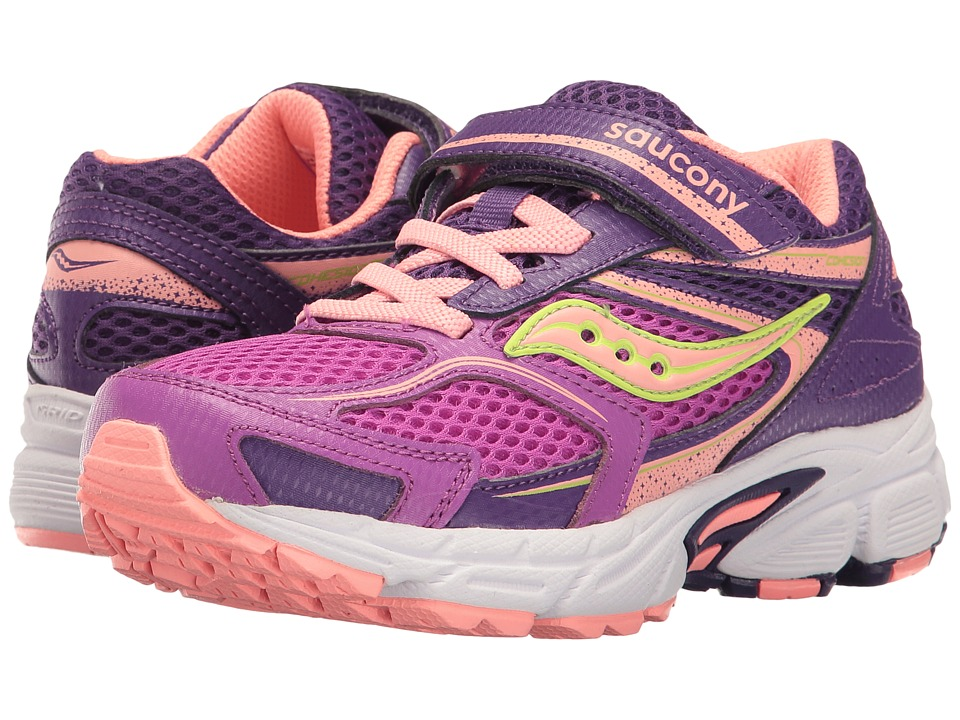 Saucony Kids - Cohesion 9 A/C (Little Kid) (Purple/Coral) Girls Shoes