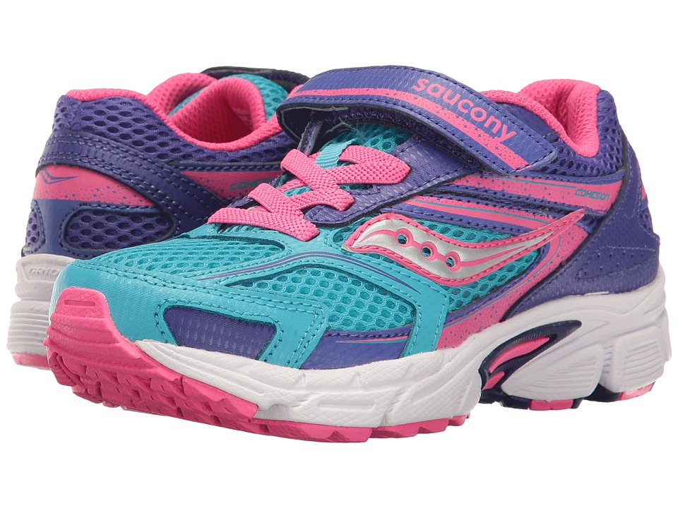 Saucony Kids Cohesion 9 A/C (Little Kid) (Blue/Pink) Girls Shoes