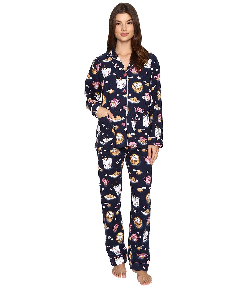 P.J. Salvage - Take Out Flannel PJ Set (Navy) Women's Pajama Sets