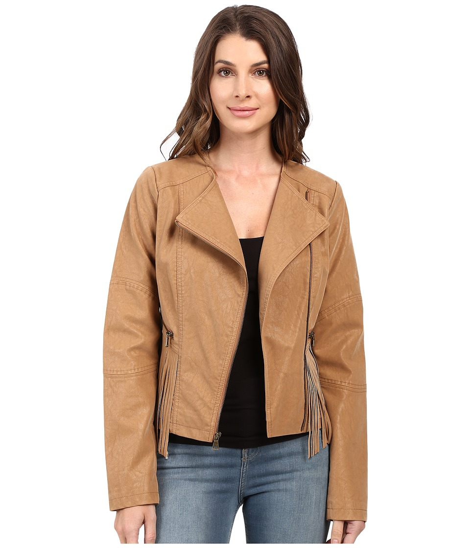 Jessica Simpson - Asymmetrical Zip with Fringe Detail Jacket (Tan) Women's Coat