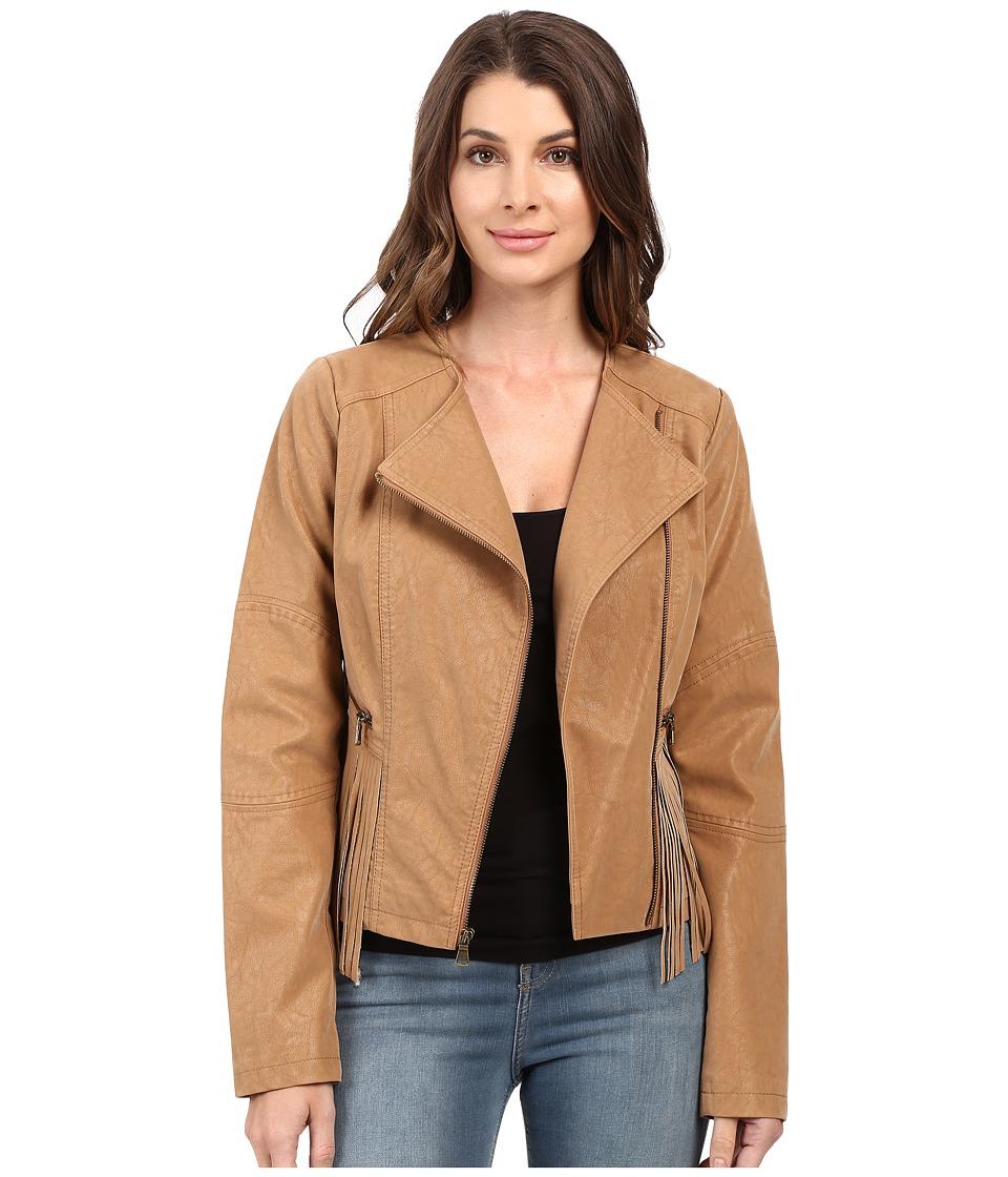 Jessica Simpson - Asymmetrical Zip with Fringe Detail Jacket (Tan) Women's Coat
