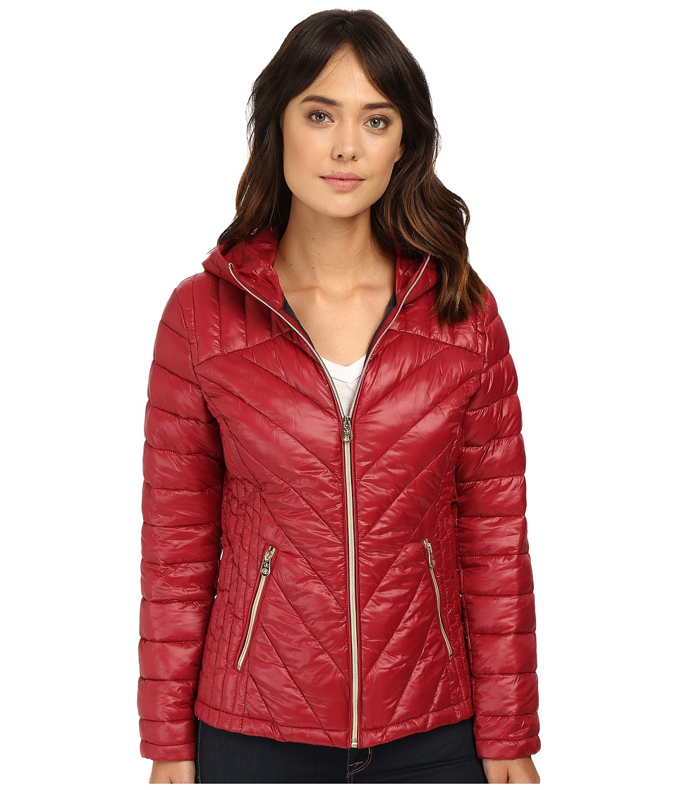 Jessica Simpson - Hooded Packable Jacket (Wine) Women's Coat