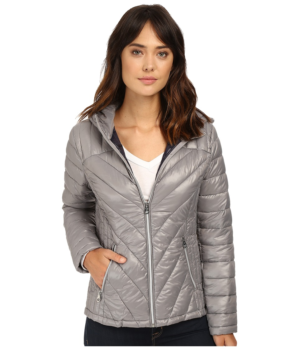 Jessica Simpson - Hooded Packable Jacket (Grey) Women's Coat