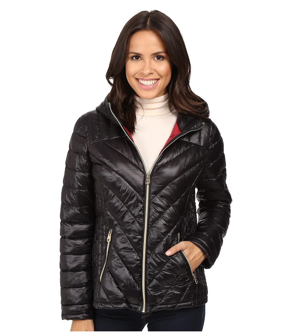 Jessica Simpson - Hooded Packable Jacket (Black) Women's Coat