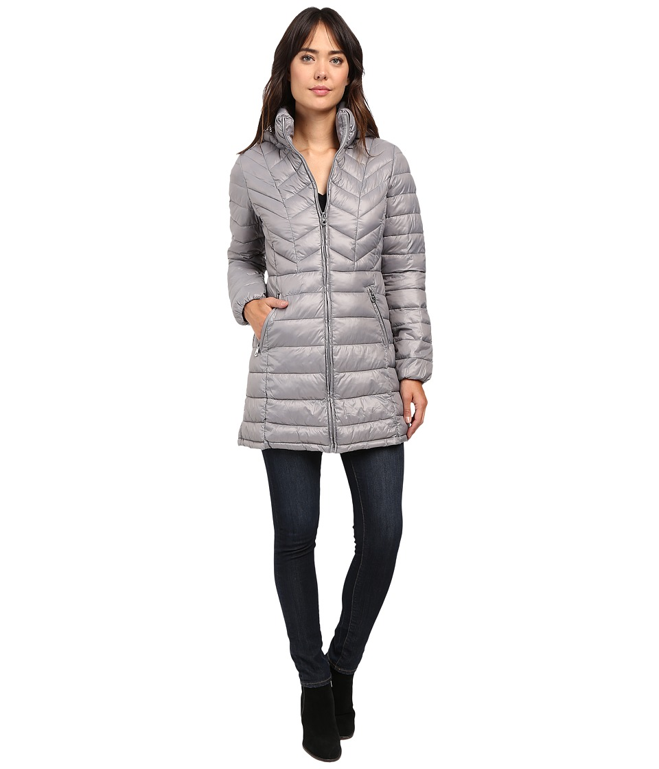 Jessica Simpson - Long Packable Jacket with Hood (Grey) Women's Coat