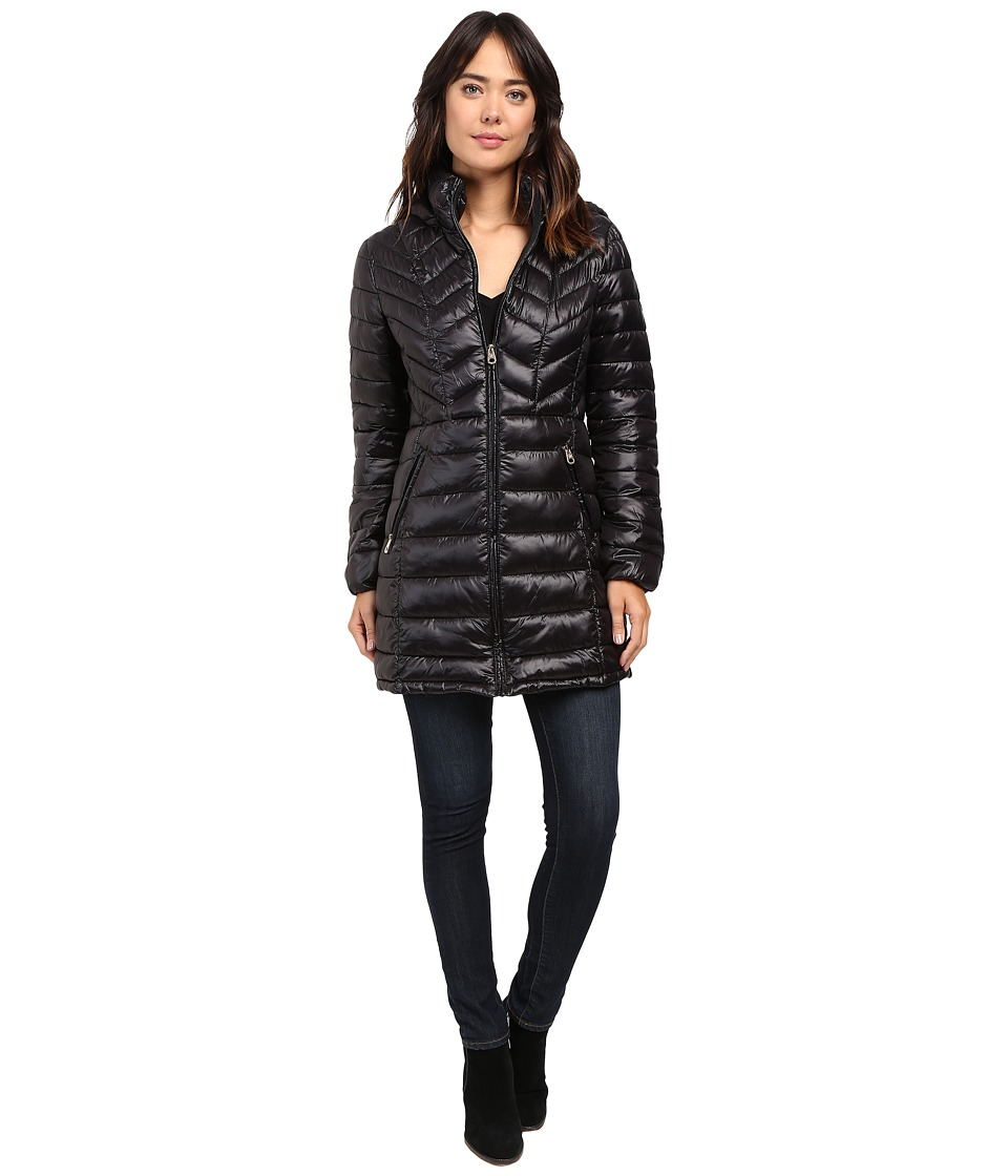 Jessica Simpson - Long Packable Jacket with Hood (Black) Women's Coat