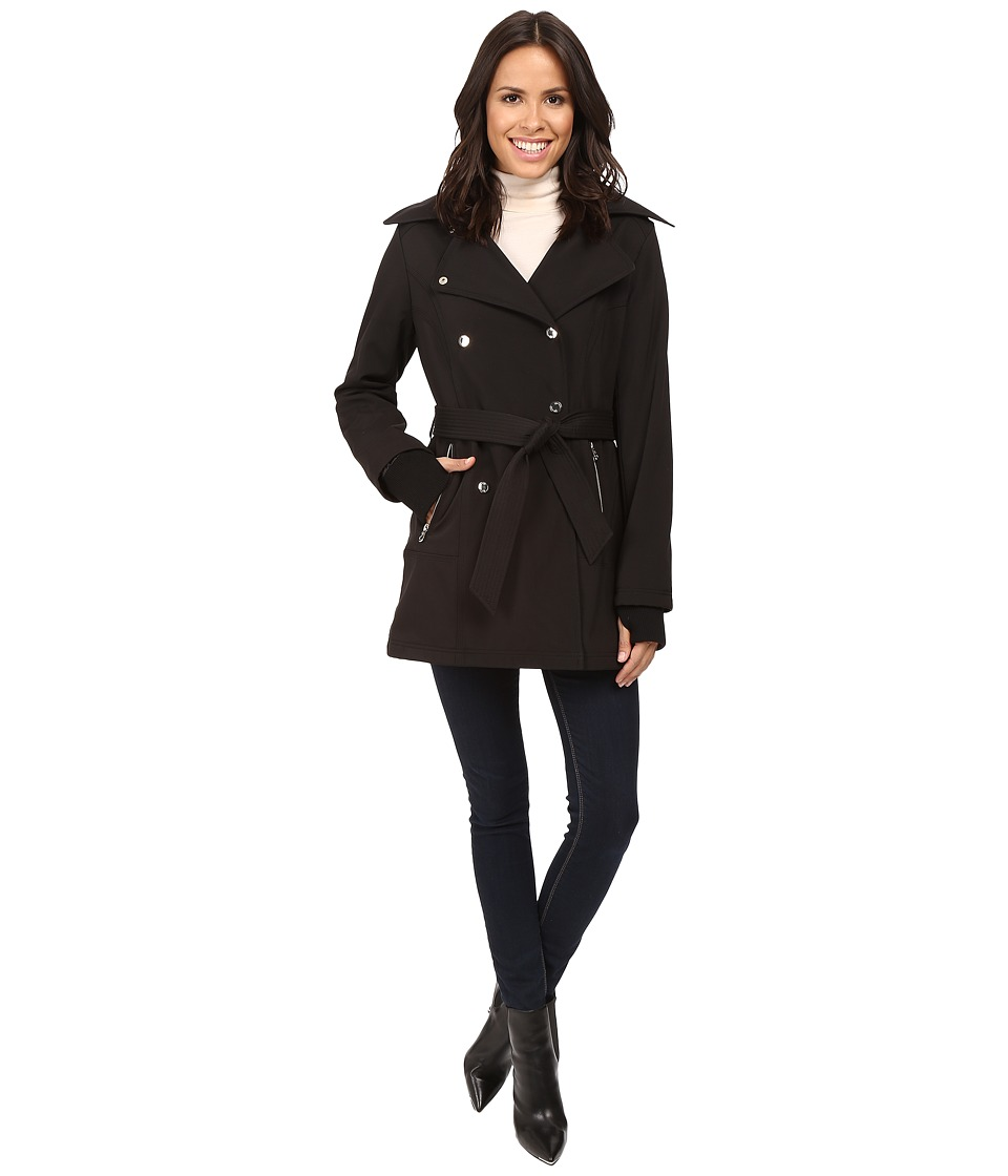 Jessica Simpson - Double Breasted Softshell Jacket (Black) Women's Coat