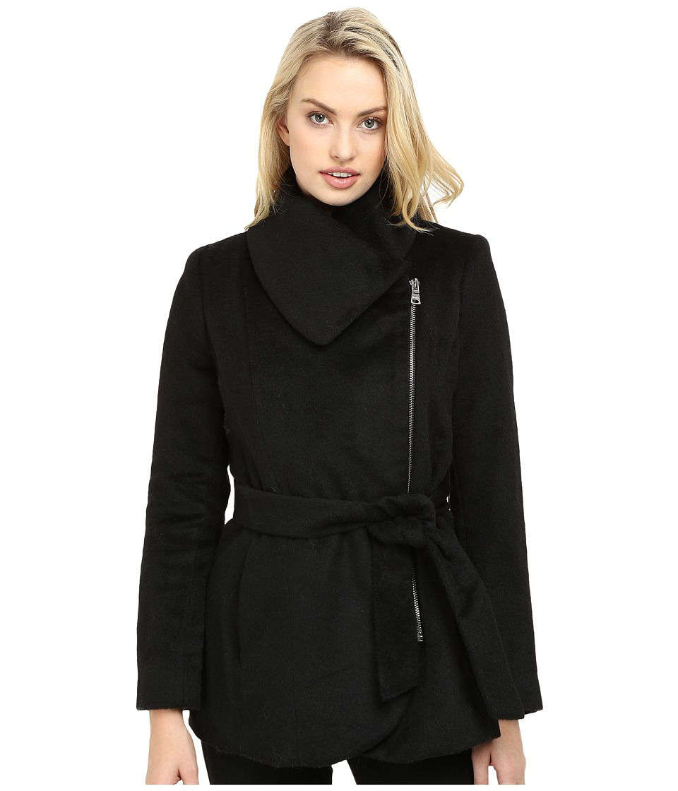 Jessica Simpson - Brushed Wool Touch Coat w/ Asymmetrical Zip (Black) Women's Coat