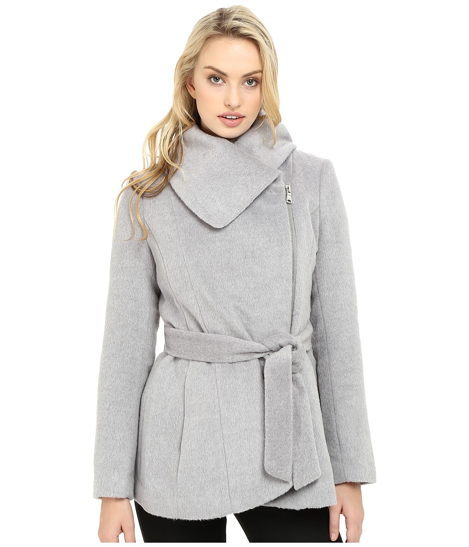 Jessica Simpson - Brushed Wool Touch Coat w/ Asymmetrical Zip (Heather Grey) Women's Coat