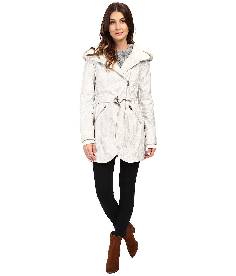 Jessica Simpson - Asymmetrical Zip Softshell Jacket (Grey Herringbone) Women's Coat