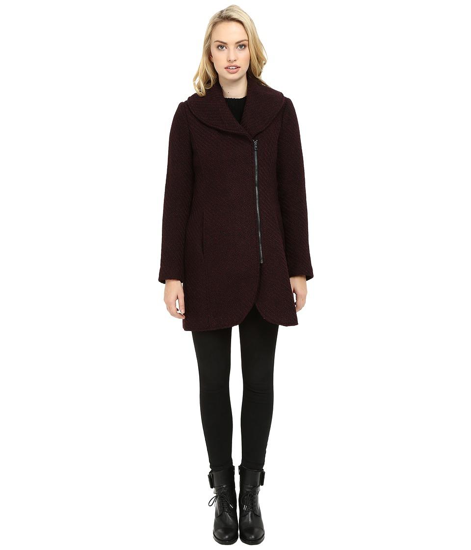 Jessica Simpson Asymmetrical Braided Wool Coat with Shawl Collar (Boysenberry) Women