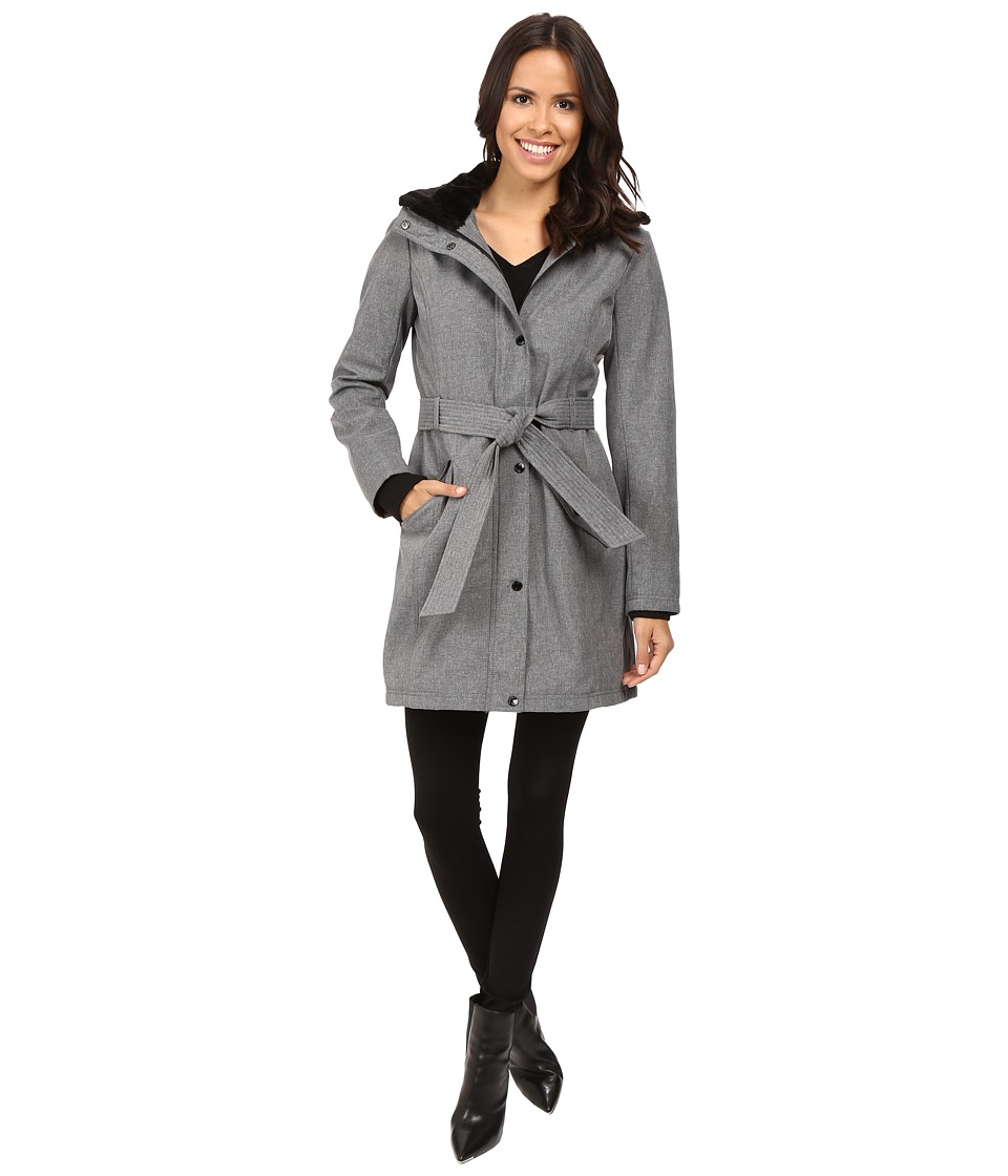 Jessica Simpson - Long Softshell w/ Faux Fur Collar and Hood (Heather Grey) Women's Coat