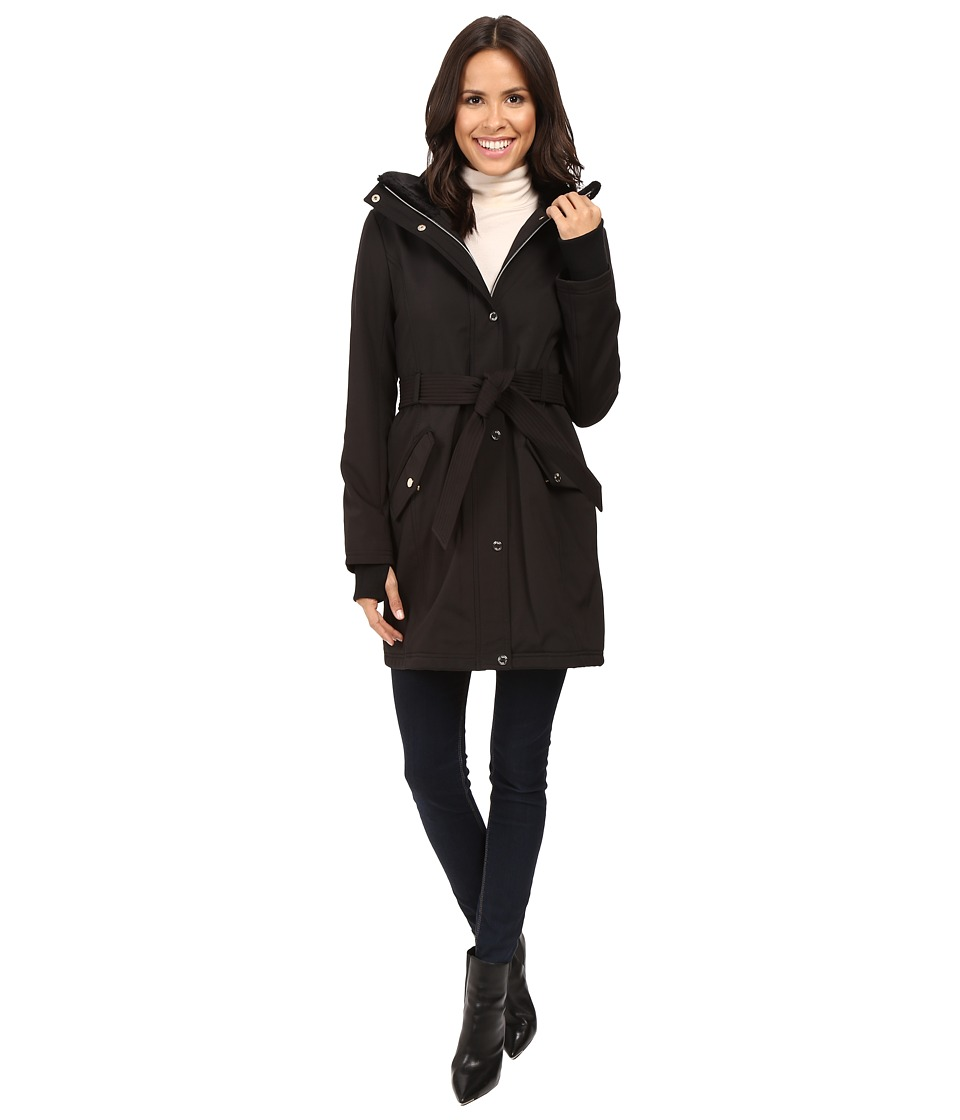 Jessica Simpson - Long Softshell w/ Faux Fur Collar and Hood (Black) Women's Coat