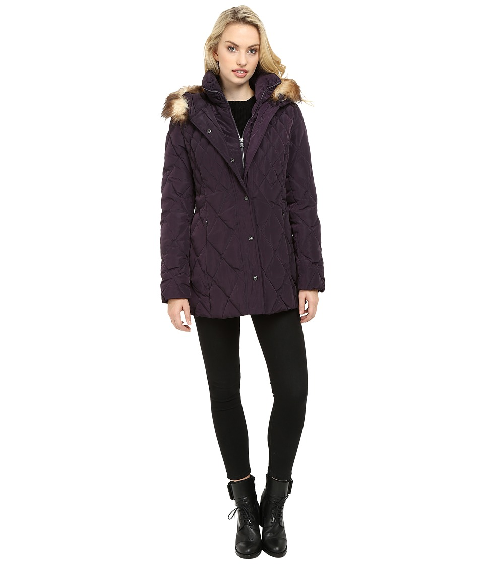 Jessica Simpson Quilted Down with Faux Fur Trim (Amethyst) Women