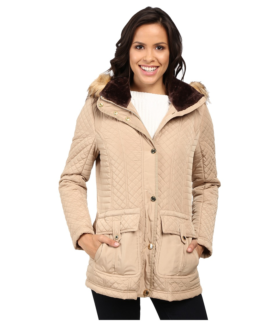 Jessica Simpson - Quilted Anorak w/ Removable Hood and Faux Fur (Khaki) Women's Coat