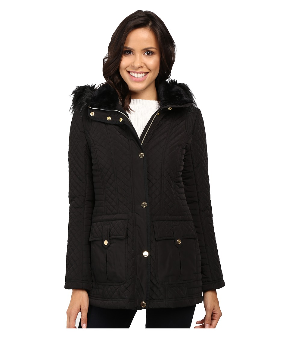 Jessica Simpson - Quilted Anorak w/ Removable Hood and Faux Fur (Black) Women's Coat