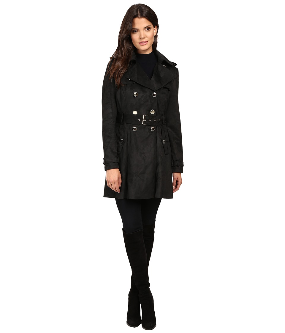 Jessica Simpson - Sueded Rain Trench with Double Breasted Buttons (Black) Women's Coat