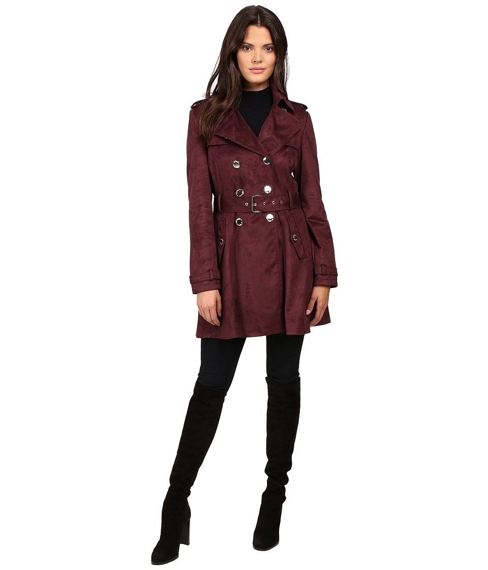 Jessica Simpson - Sueded Rain Trench with Double Breasted Buttons (Burgundy) Women's Coat