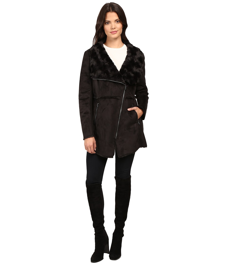 Jessica Simpson - Faux Shearling Moto Jacket with Asymmetrical Zip (Black) Women's Coat