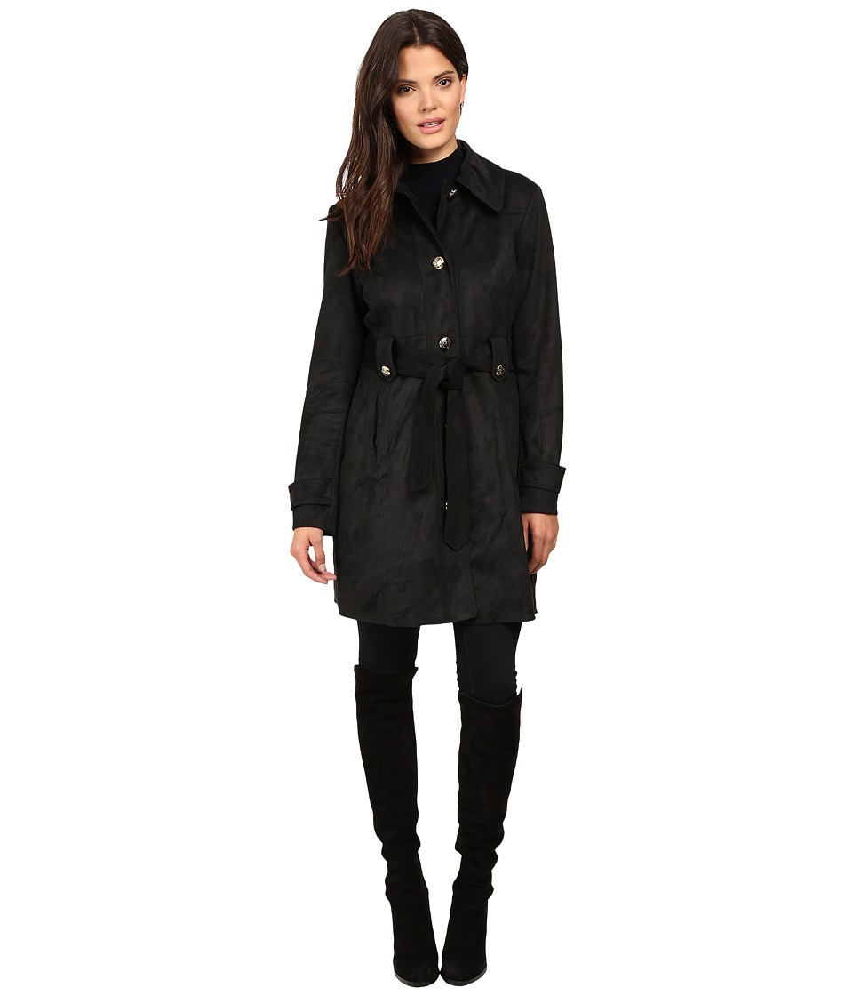 Jessica Simpson - Sueded Rain Trench with Stitching Detail Single Breasted Belted (Black) Women's Coat