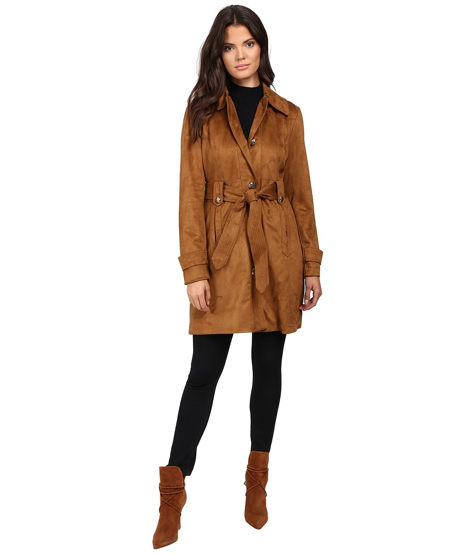 Jessica Simpson - Sueded Rain Trench with Stitching Detail Single Breasted Belted (Cognac) Women's Coat