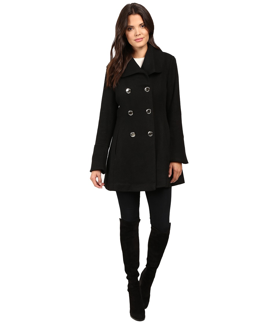 Jessica Simpson - Basketweave with Bell Sleeves and Envelope Collar (Black) Women's Coat