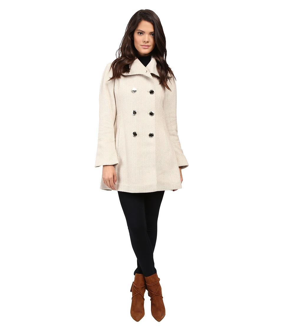 Jessica Simpson - Basketweave with Bell Sleeves and Envelope Collar (Camel) Women's Coat