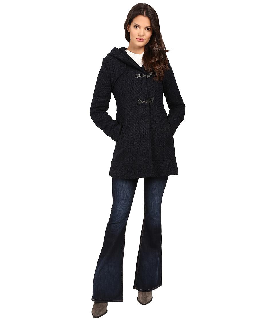 Jessica Simpson - Braided Wool Duffle Coat with Hood (Navy) Women's Coat