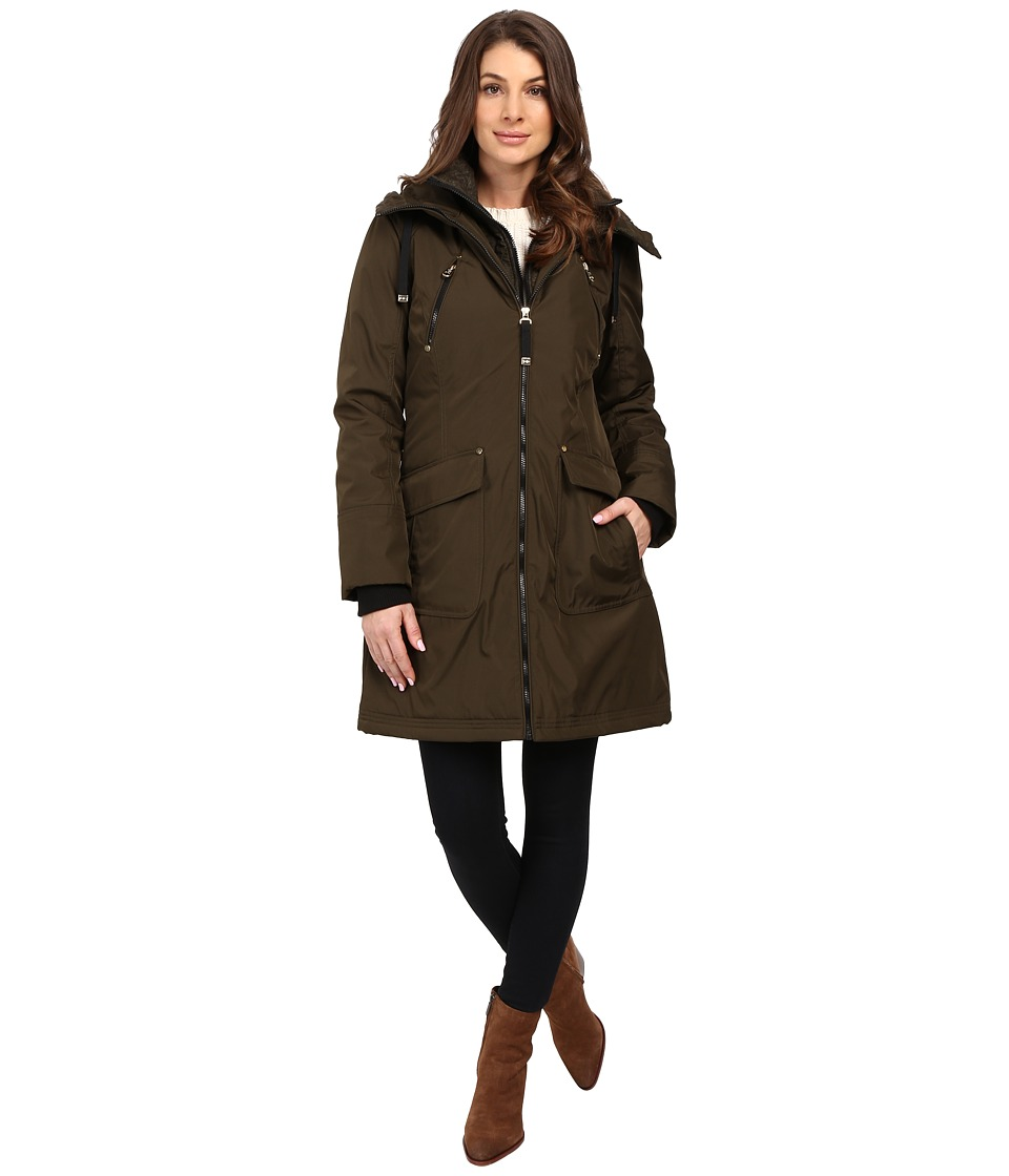 Jessica Simpson - Quilted Fill Puffer with Hood and Fleece Bib (Loden) Women's Coat