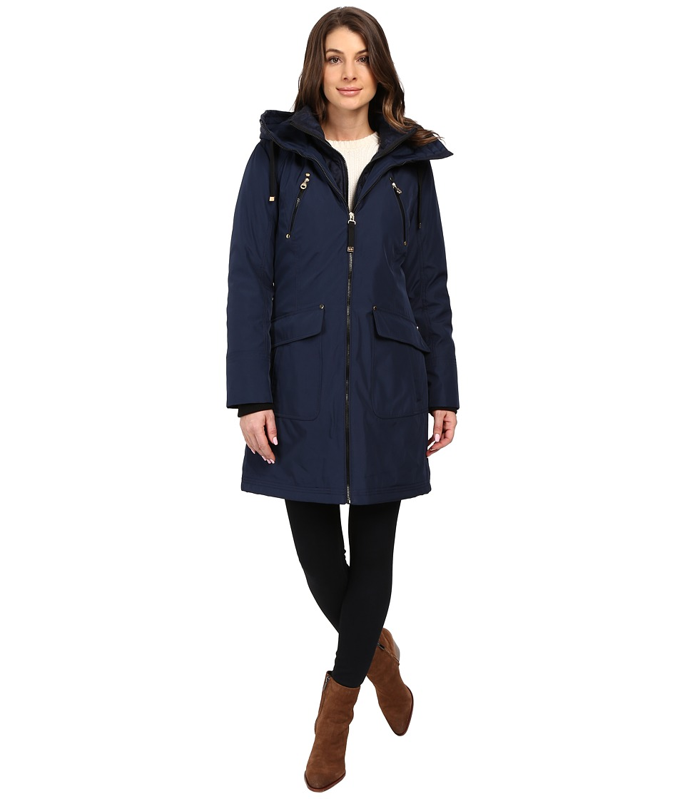 Jessica Simpson - Quilted Fill Puffer with Hood and Fleece Bib (Navy) Women's Coat