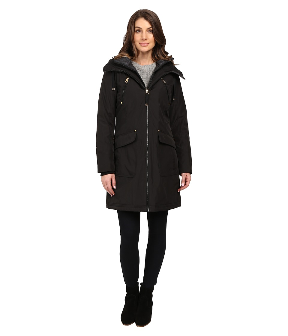 Jessica Simpson - Quilted Fill Puffer with Hood and Fleece Bib (Black) Women's Coat