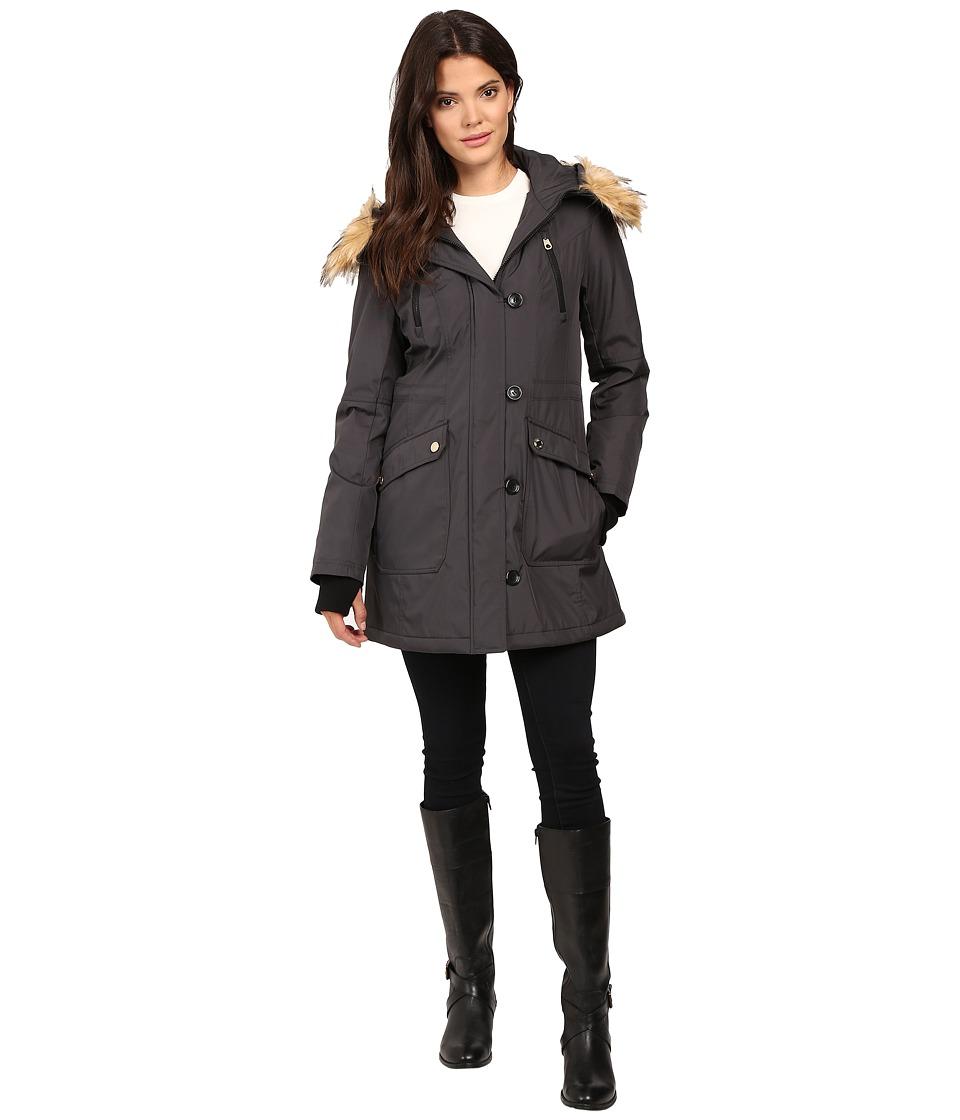 Jessica Simpson - Snorkle Anorak w/ Faux Fur (Steel) Women's Coat