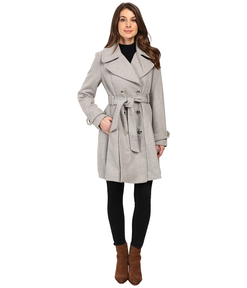 Jessica Simpson - Double Breasted Trench Jacket w/ Pleated Skirt (Heather Grey) Women's Coat